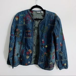 Chico's Denim Jacket Arts Crafts Style Embroidered